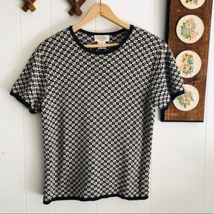 Silk Blend Knit Patterned Top